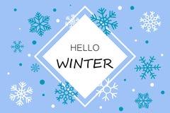 Olá! bandeira azul do inverno com flocos de neve ilustração do vetor
