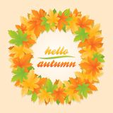 Olá! bandeira do círculo das folhas de outono ilustração stock