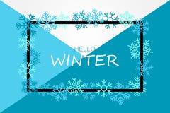 Olá! bandeira do inverno com flocos de neve ilustração stock