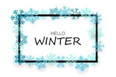 Olá! bandeira do inverno com flocos de neve ilustração royalty free