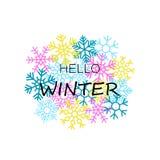 Olá! bandeira do inverno com flocos de neve coloridos ilustração royalty free