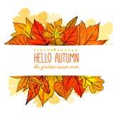 Olá! bandeira do outono com a mão alaranjada e vermelha tirada Fotos de Stock