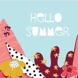 Olá! bandeira feminino do vetor da colagem do verão ilustração stock