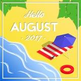 Olá! bandeira isométrica das férias do verão august Fotografia de Stock Royalty Free