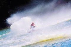 Olá! barco de motor relevante da velocidade na ação Imagens de Stock Royalty Free