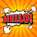 Olá!! - Bolha cômica do discurso, desenhos animados Fotos de Stock Royalty Free