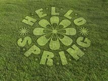 Olá! círculo da colheita da mola feito no prado gramíneo fotos de stock