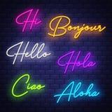 Olá!, caligrafia de néon Letras de néon da frase de cumprimento em línguas diferentes ilustração royalty free