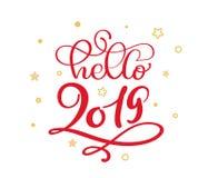 Olá! a caligrafia vermelha do vintage do Natal 2019 que rotula o texto do vetor com inverno floresce caligráfico e o ouro ilustração do vetor