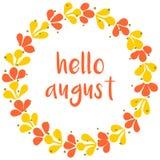 Olá! cartão amarelo da grinalda august do vetor e verde ensolarado Fotos de Stock Royalty Free