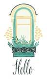 Olá! cartão com uma janela e as flores ilustração royalty free
