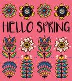 Olá! cartão da mola com as flores decorativas no fundo cor-de-rosa ilustração stock