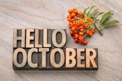 Olá! cartão da palavra de outubro imagem de stock royalty free