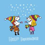 Olá! cartão de dezembro ilustração royalty free