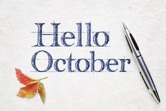 Olá! cartão de outubro fotos de stock royalty free