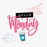 Olá! cartão de segunda-feira com inscrição da caligrafia, café tirado mão e colagem gravada da etiqueta no papel esquadrado engra Fotografia de Stock