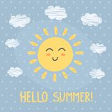 Olá! cartão de verão com um sol bonito ilustração stock