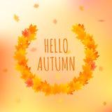 Olá! cartão do outono, ilustração do vetor com texto Foto de Stock Royalty Free
