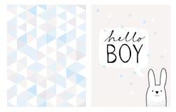 Olá! cartão tirado mão do menino e teste padrão irregular do vetor dos triângulos ilustração stock
