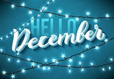 Olá! cartaz de dezembro com sincelos realísticos e luzes efervescentes do Natal Vetor ilustração stock