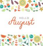 Olá! cartaz tirado mão da rotulação da tipografia de agosto fotos de stock