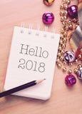 Olá! 2018 com decoração fotos de stock royalty free