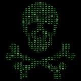 Olá! crânio da morte dos ossos cruzados da tecnologia, sinal do perigo do código binário Ilustra a ideia da segurança do cyber, p Fotografia de Stock Royalty Free