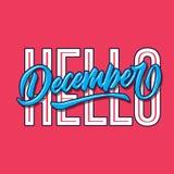 Olá! cumprimento simples da tipografia da rotulação da mão de dezembro e cartaz do acolhimento fotografia de stock