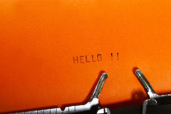 Olá! datilografando Fotografia de Stock