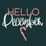 Olá! dezembro - cartaz criativo Imagem de Stock Royalty Free