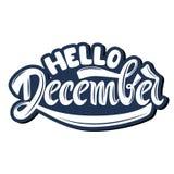 Olá! dezembro Rotulação escrita à mão ilustração royalty free
