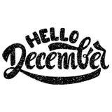 Olá! dezembro Rotulação escrita à mão ilustração stock