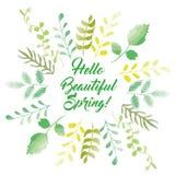 Olá! estilo esboçado do cartão da mola Fotografia de Stock Royalty Free