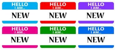 Olá! eu sou etiquetas novas do nome Fotografia de Stock