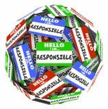 Olá! eu sou a responsabilidade responsável 3d Illust da esfera das etiquetas do nome ilustração do vetor