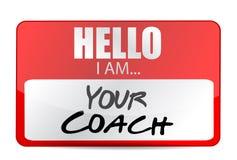Olá! eu sou seu projeto da ilustração da etiqueta do treinador ilustração do vetor