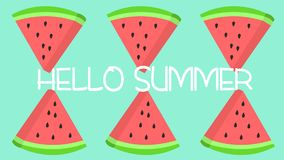Olá! fatia da melancia do verão com as sementes que repetem o teste padrão Fotografia de Stock Royalty Free