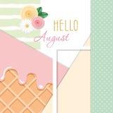Olá! fundo abstrato august com texturas diferentes e elementos decorativos florais Imagem de Stock Royalty Free