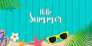 Olá! fundo das férias de verão Férias da estação, fim de semana Vecto ilustração royalty free