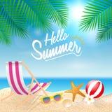 Olá! fundo das férias de verão Férias da estação, fim de semana Vecto ilustração do vetor