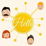 Olá! fundo do conceito do grupo dos povos, estilo dos desenhos animados ilustração do vetor