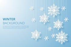 Olá! fundo do projeto do inverno Queda de neve do origâmi ilustração do vetor