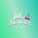 Olá! fundo do verão Rotulação com cereja ilustração stock