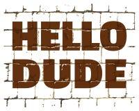 Olá! gajo impresso na parede de tijolo estilizado Inscrição cômico Textured para seu projeto Vetor ilustração royalty free
