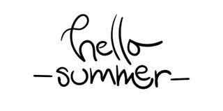 Olá! ilustração do vetor do verão com mão original a escova tirada Le Fotos de Stock Royalty Free