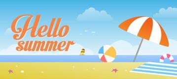 Olá! ilustração do vetor do verão com fundo da praia tropical e do céu azul Foto de Stock