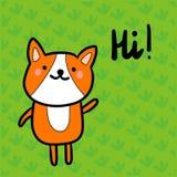 Olá! ilustração tirada mão com estilo bonito do minimalismo do corgi dos desenhos animados ilustração stock