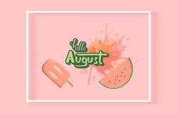 Olá! inscrição august com rotulação escrita à mão Ilustração do vetor ilustração stock