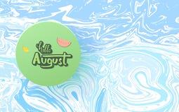 Olá! inscrição august com rotulação escrita à mão Ilustração do vetor ilustração royalty free