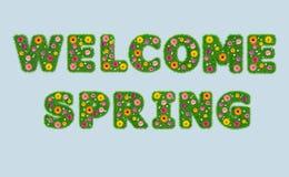 Olá! inscrição de abril das letras da grama com flores a Imagens de Stock